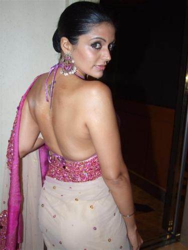 Indian Actress Mandira Beedi Bare Back Show Full Backless Bikini Bra Type Blouse -1166