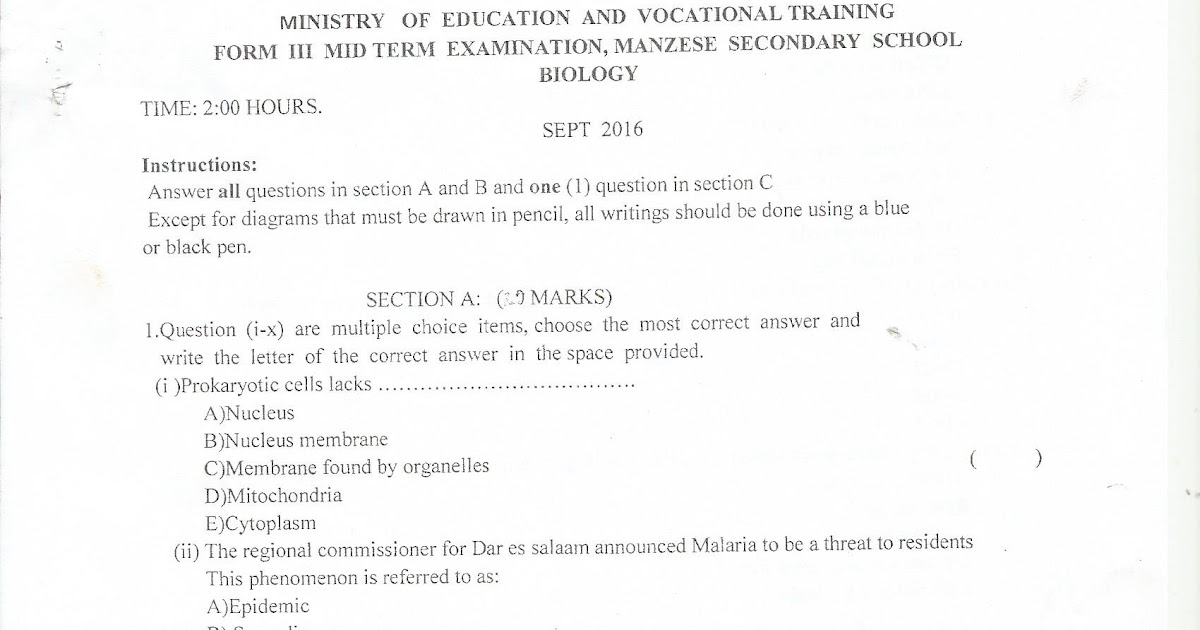 FORM THREE STUDY NOTES & PAST PAPERS BLOG: BIOLOGY FORM III MID TERM