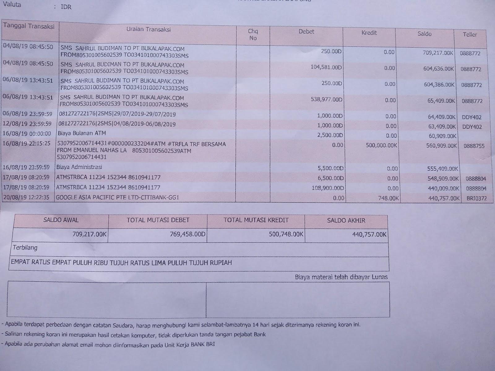 Cara Verifikasi Rekening Bank BRI