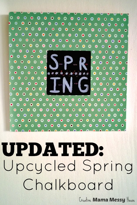 An updated look at an Upcycled Spring Chalkboard. A quick 10 minute craft