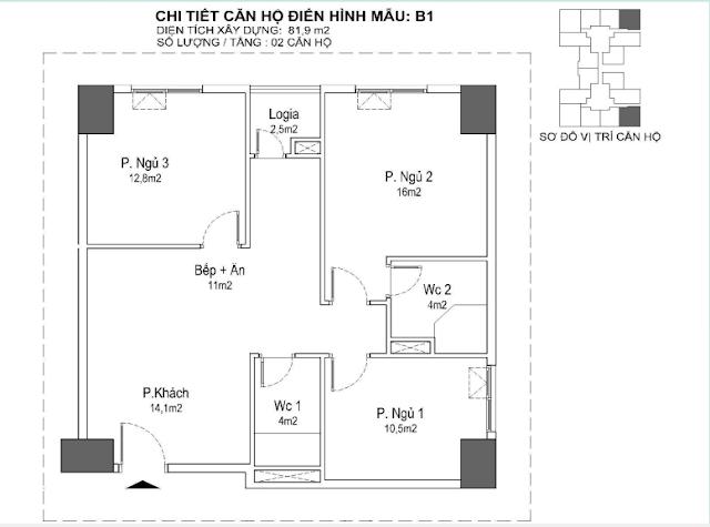căn hộ B1 81m, tòa Park 1 2 3 Eurowindown Đông Trù