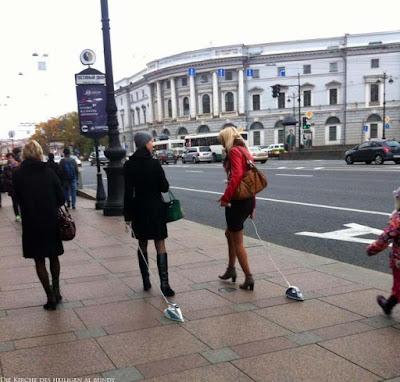 Zwei lustige Frauen mit Bügeleisen spazieren gehen Spassbilder