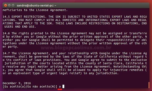 Aceite o Contrato de Licença do Android Studio