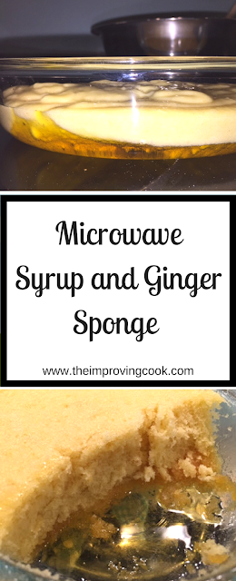 Microwave Syrup and Ginger Sponge Pudding pinnable image with text