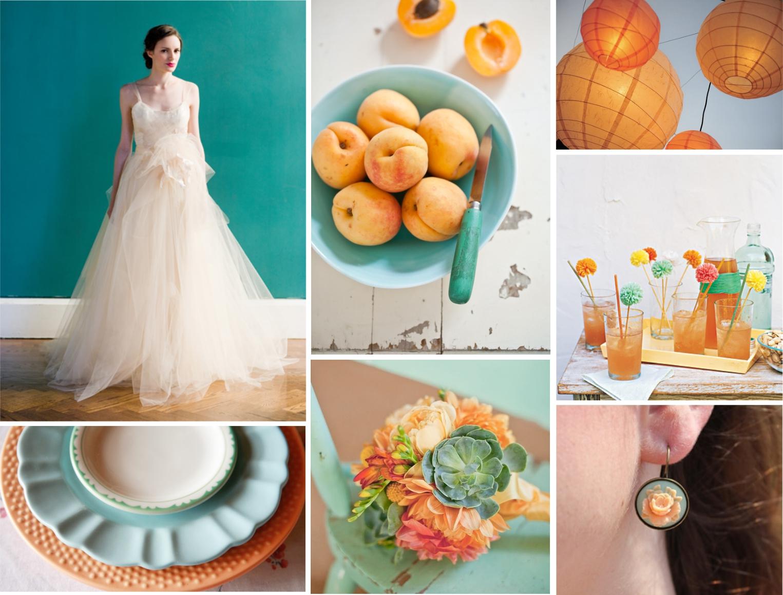 bluebonnet press: color palette: aqua + apricot