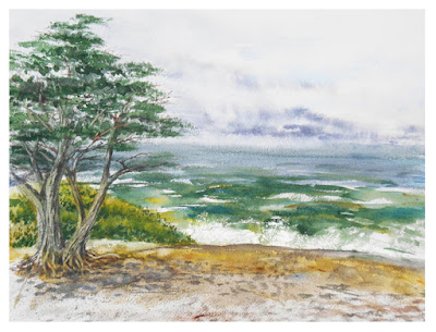 Carmel by The Sea watercolour painting California seascapes