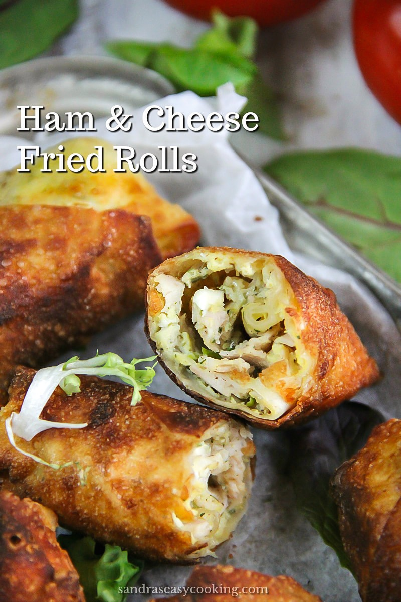 Ham and Cheese Fried Rolls. Rolls are made with Wonton skins/wrappers. Makes a great breakfast or appetizers. #food #asianinpired #asianfood #cooking #homemade