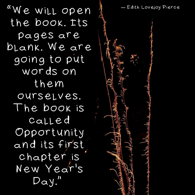 """We will open the book. Its pages are blank. We are going to put words on them ourselves. The book is called Opportunity and its first chapter is New Year's Day.""  ― Edith Lovejoy Pierce"