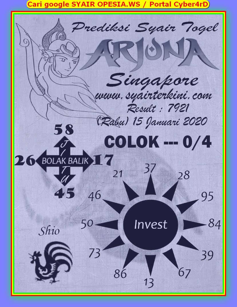 Kode syair Singapore Rabu 15 Januari 2020 68