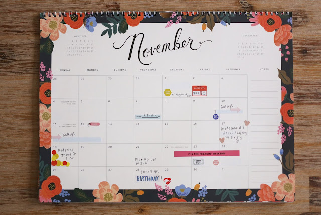 calendar with stickers to show plans and schedules organized