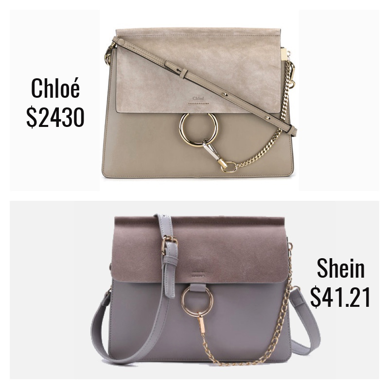 785bd48ea Designer  Chloé Faye Bag ( 2430) Dupe  Shein Ring Chain Faux Suede Flap Bag  ( 41.21) This is a very close dupe and the only thing separating it from  being a ...