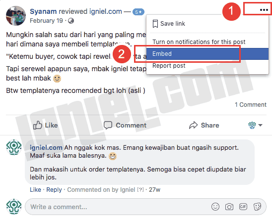 Cara Memasang Widget Review Rating Bintang Halaman Facebook di Web dan Blog