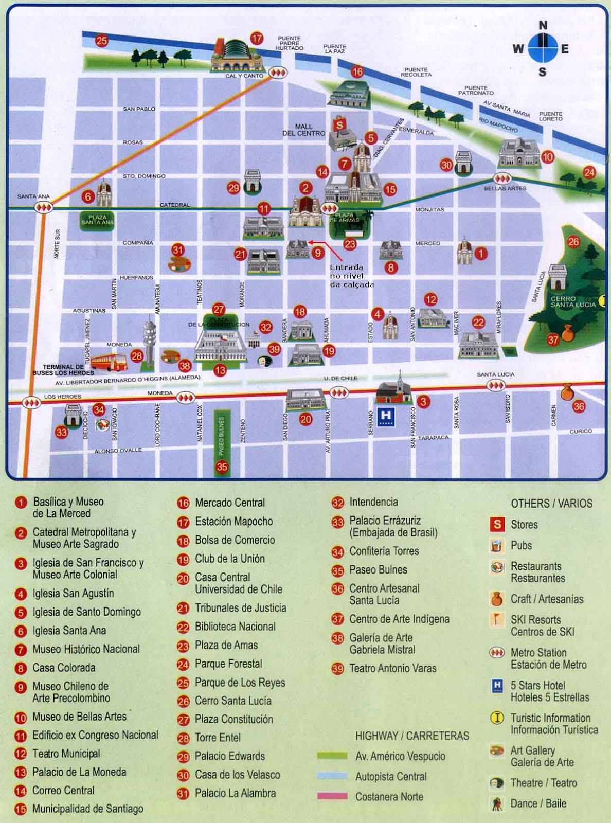 Santiago De Chile Mapa Turistico.Mapa Turistico Santiago De Chile