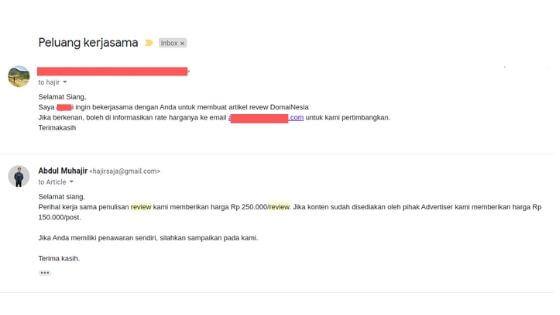 dibayar untuk review blog