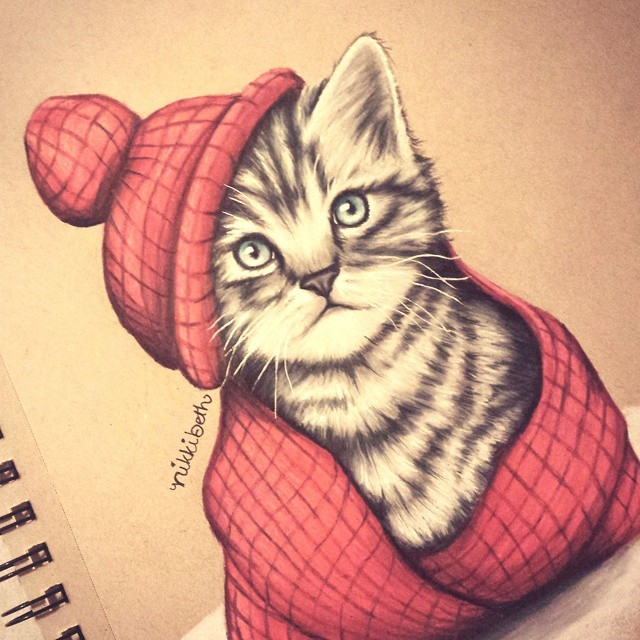 11-Winter-Kitten-Nikki-Beth-Animal-Portrait-Drawings-in-different-Styles-www-designstack-co