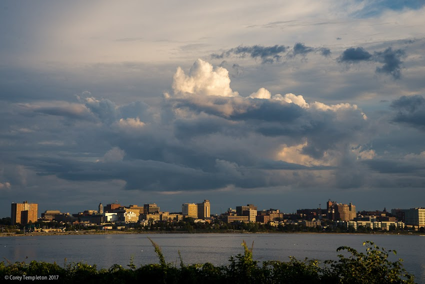 Portland, Maine USA September 2017 photo by Corey Templeton. Dramatic clouds doing their thing above the Portland skyline. Seen from across Back Cove.