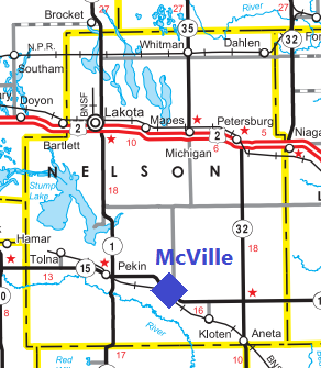 Transportation map of McVille and Greene County, North Dakota