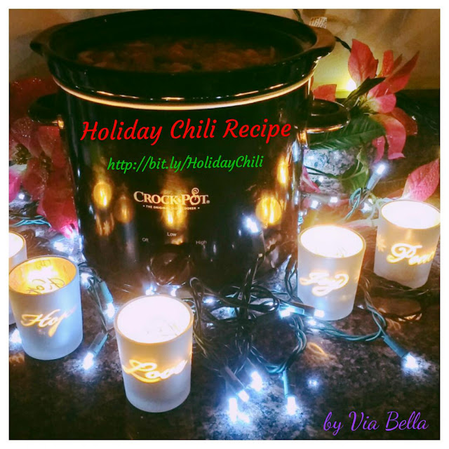 Holiday Chili Recipe (with an awesome spicy kick), chili recipe, meat, holidays, Via Bella, Kitchen Corners, Holiday Chili, Holiday dishes, crock pot dishes, crock pot, easy recipes, crock pot meals, full meal in one, vegetarian, yum, easy family meals, nutritious meals, stew, chili, chili recipes, spicy chili