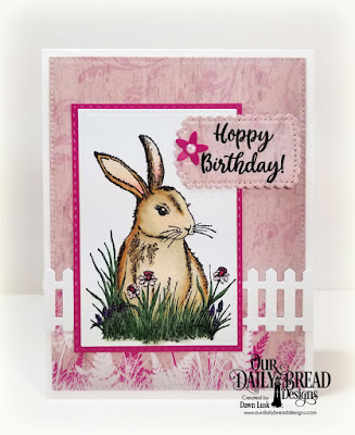 Our Daily Bread Designs Stamp Set: Hoppy Birthday, Paper Collection: Beautiful Blooms, Custom Dies: Pierced Rectangles, Double Stitched Rectangles, Rectangles, Fence, A Gift For You, Roses