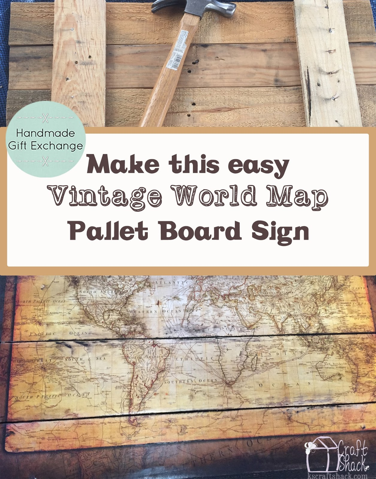 Vintage Map Pallet Board Sign Craft Shack Chronicles - Vintage world map on wood