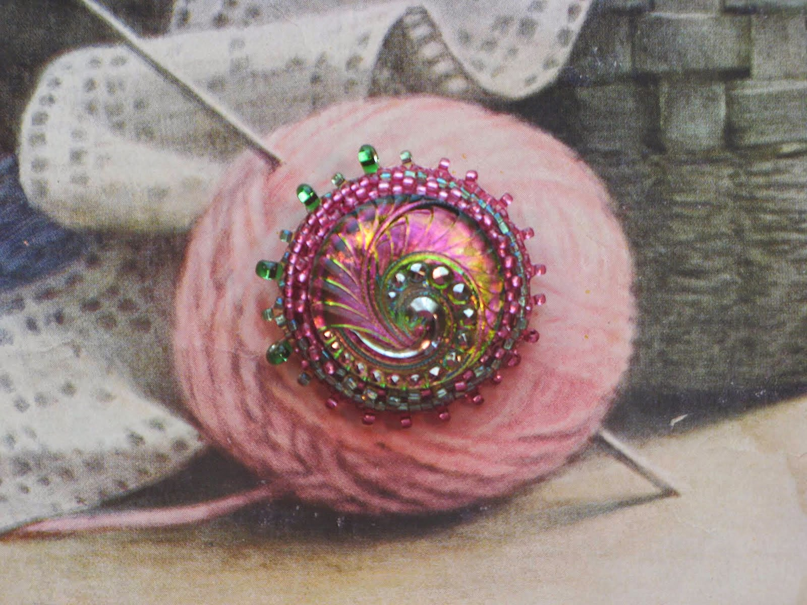 Beaded Button Brooches