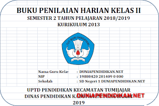 Format Daftar Nilai Kelas 2 SD/MI Semester 2 K13 Tahun 2018/2019