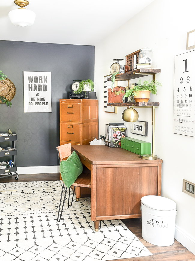 High contrast vintage office makeover