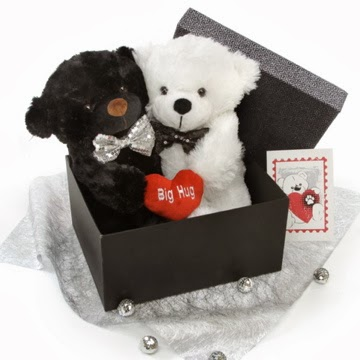 Black And White Cuddles Bears Holiday Hugs