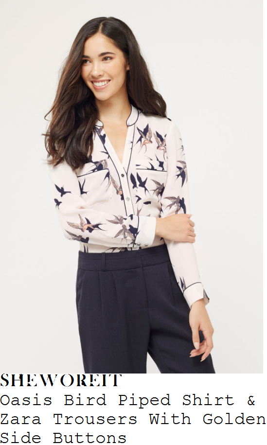 catherine-tyldesley-oasis-cream-navy-blue-and-multicoloured-bird-print-long-sleeve-button-up-shirt-and-zara-navy-blue-and-gold-button-detail-high-waisted-wide-leg-trousers