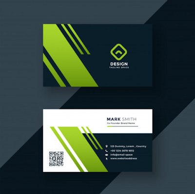 Template Kartu Nama - Dark Green Business Card Professional  Design