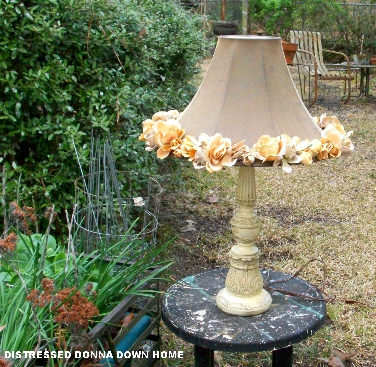 lampshade, leather and velvet roses., garden, thrift shop find