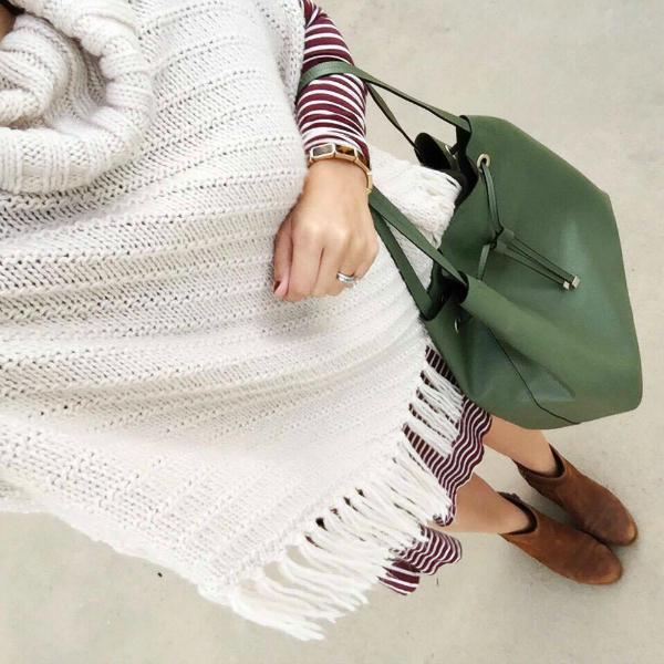 fringe poncho, swing dress
