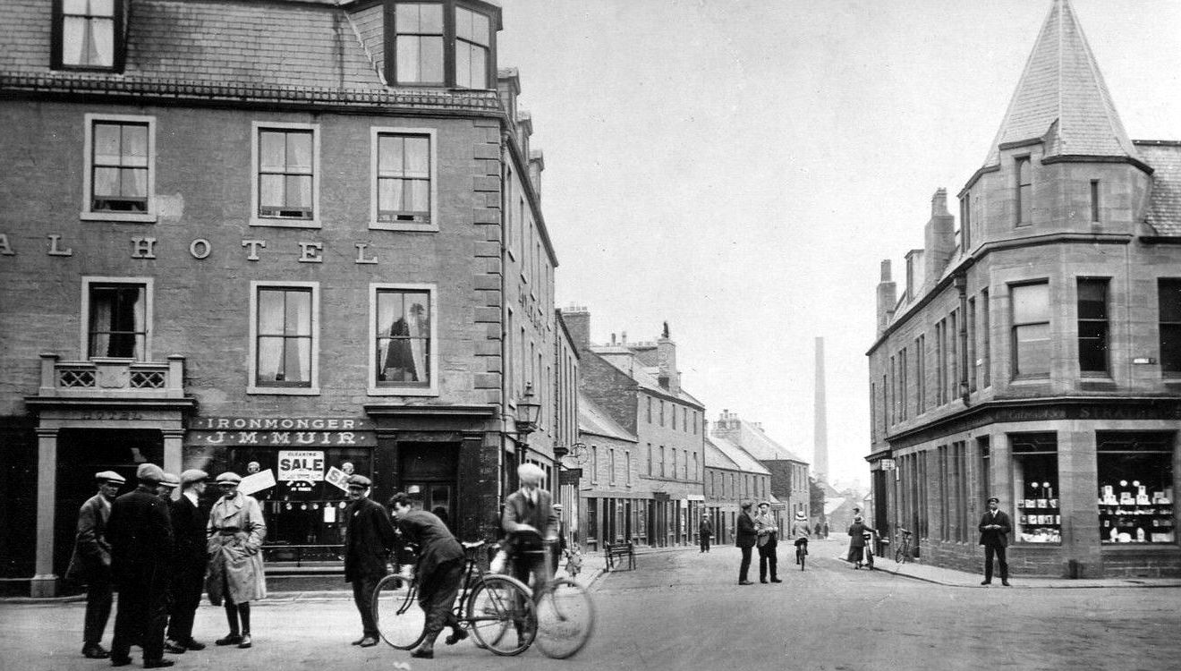 Old Photograph Of Hotel Cyclists S Buildings And People On George Street In Coupar Angus Perthshire Scotland