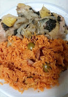 Rice with sausage and Jamaican Chicken