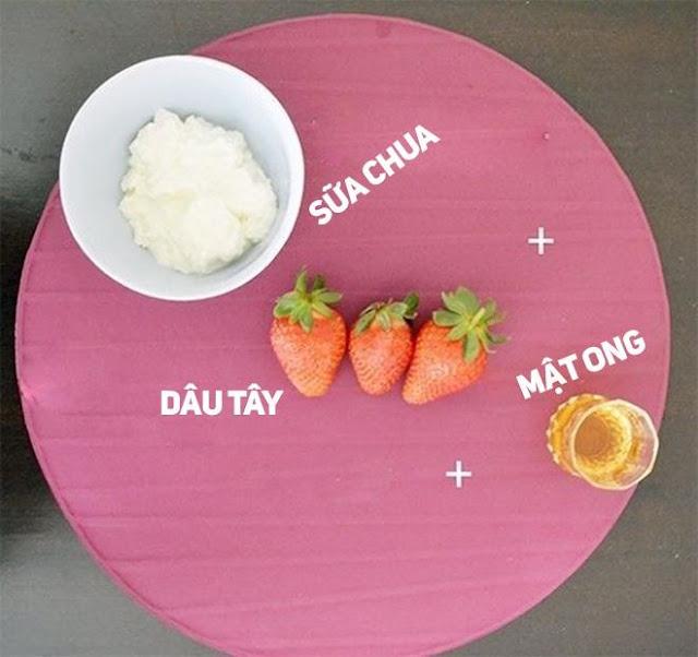 Mặt nạ dâu tây, mật ong, sữa chua