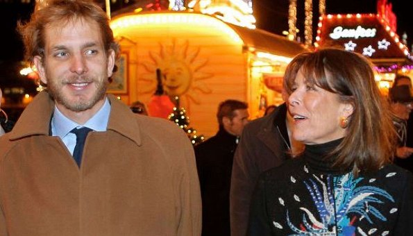 Princess Caroline of Hanover, right, and her eldest son Andrea Casiraghi, attend the opening of the Christmas village