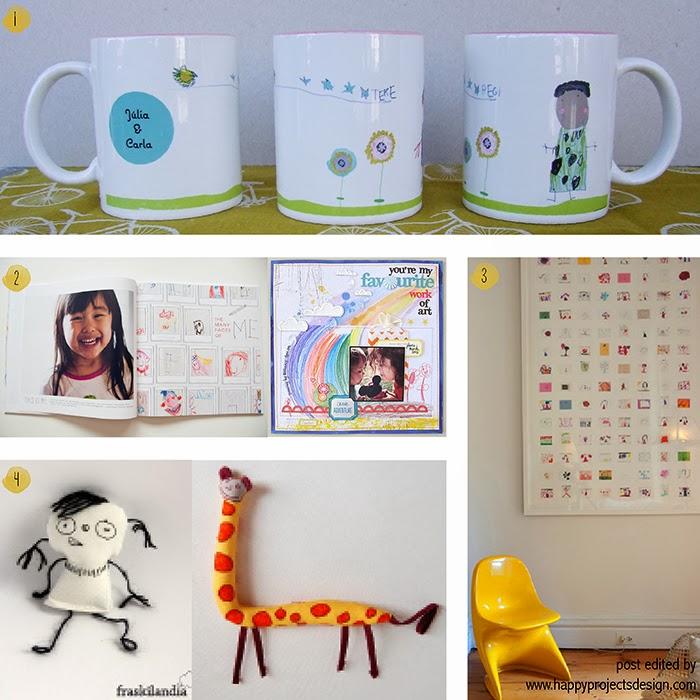 ideas creativas de regalar dibujos de niños: tazas, libros, peluches, cuadro