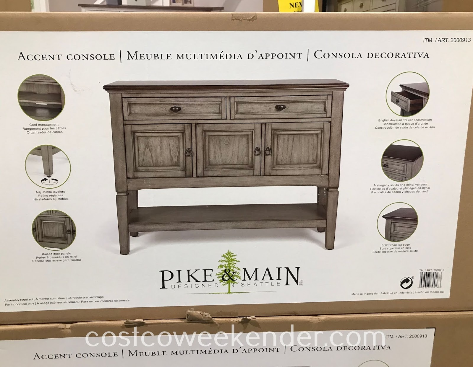 Pike & Main 47in Accent Console: rustic with a classic look