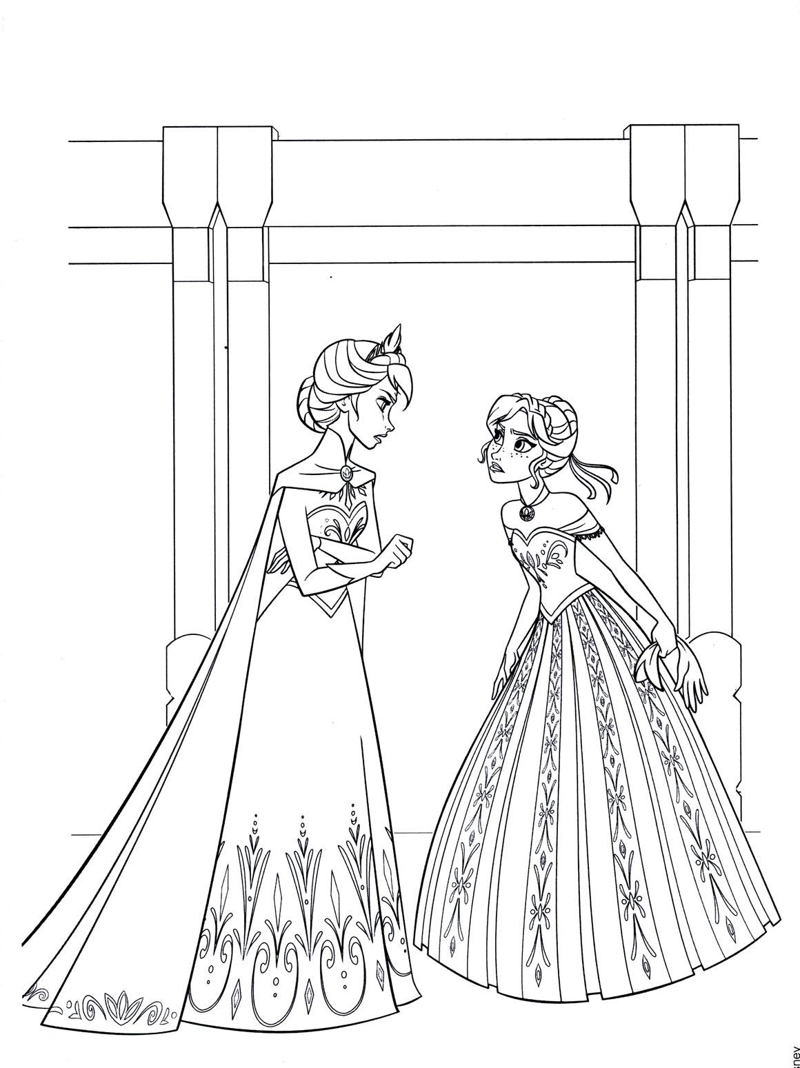 Tranh tô màu Elsa và Anna 06