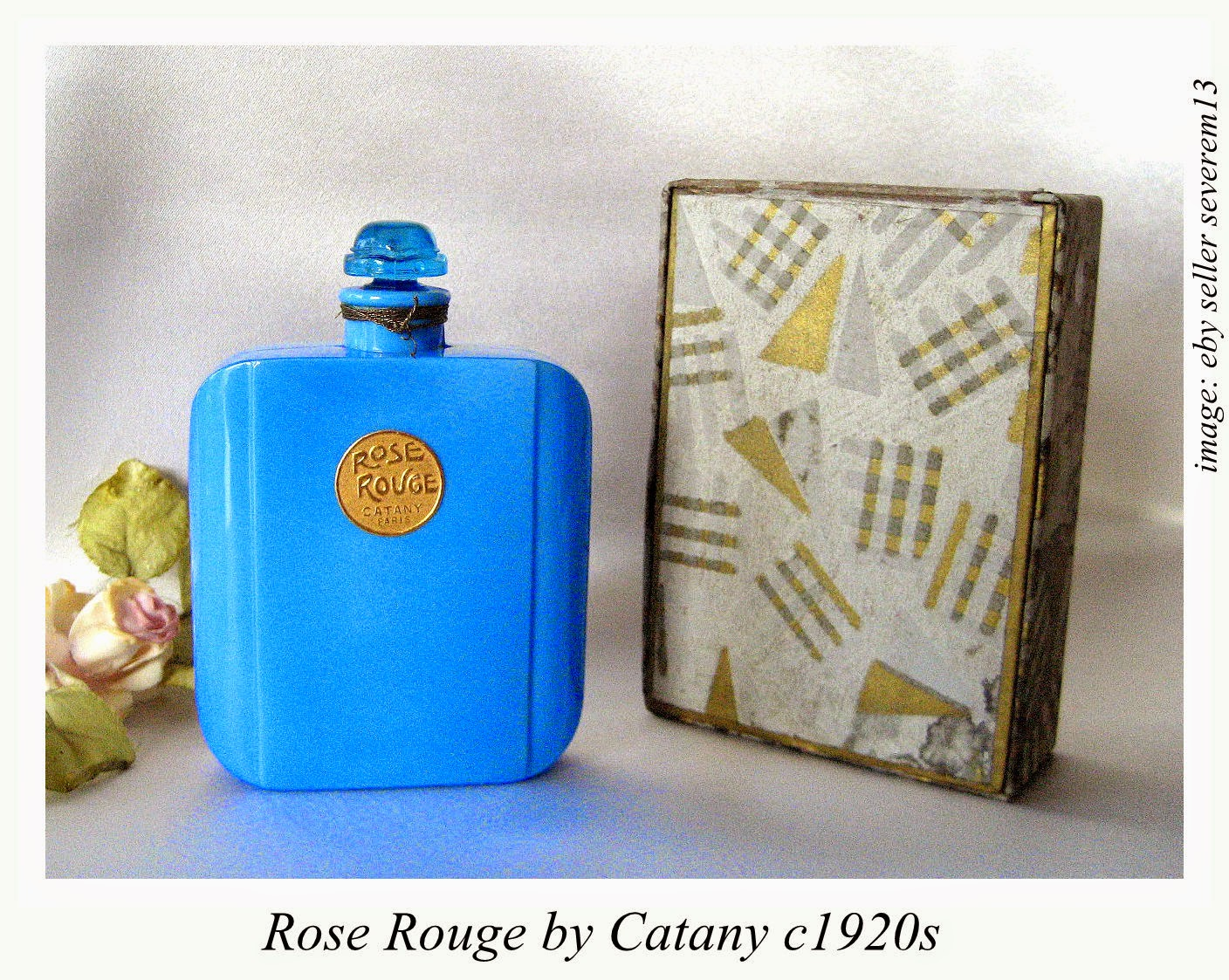 Cleopatras boudoir collecting blue glass commercial perfume bottles au coeur des calices by coty launched in 1913 pale blue glass bottle molded with design of flower petals and has a bee shaped stopper izmirmasajfo
