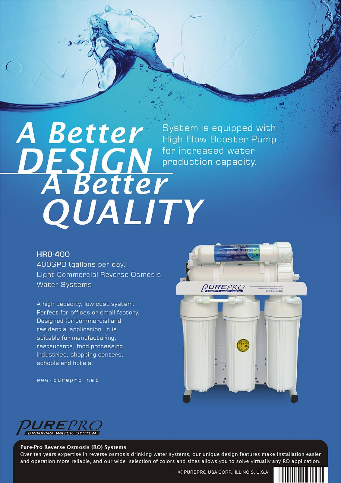 PurePro® HRO400 Light Commercial Reverse Osmosis Water System