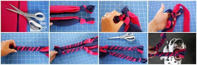 Making homemade fleece dog tug toys