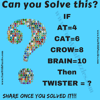 It is Math Puzzle for college students in which some words corresponds to the numbers. You have solve this logical relationship and then find the value of TWISTER.