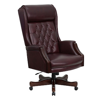 Overstuffed Tufted Leather Executive Chair
