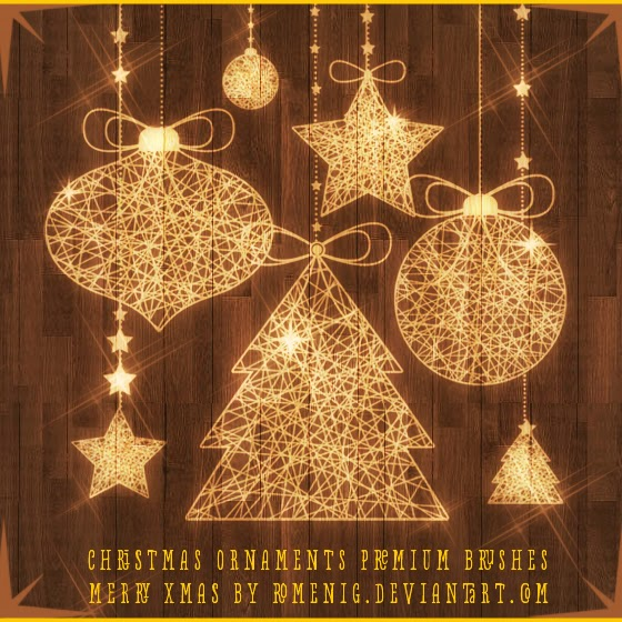 Efeito Photoshop: Christmas Ornaments Premium Brushes