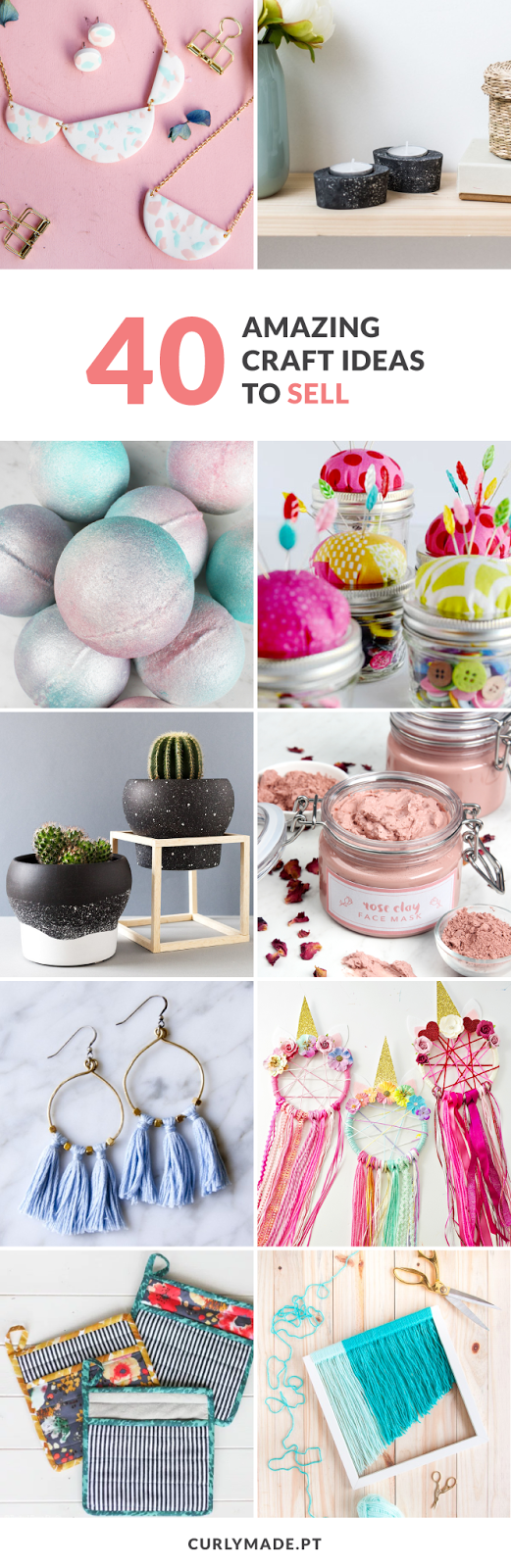 A round-up of 40 DIY Craft ideas to sell on etsy or at craft fairs including Jewelry, Sewing Projects, Decor, Beauty Products, and Items for Kids  #diy #crafts #sell #etsy #ideas #curlymade