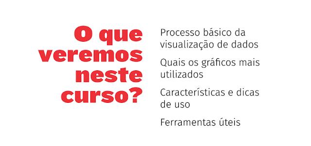 """""""O que veremos neste curso? Processo básico da visualização de dados / Quais os gráficos mais utilizados / Características e dicas de uso / Ferramentas úteis"""
