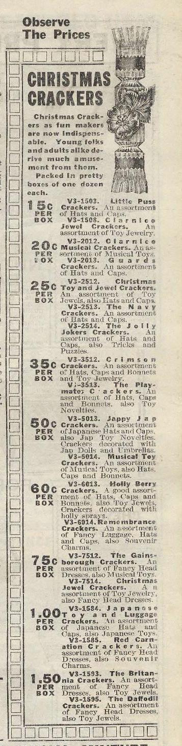 Eatons Christmas cracker ad 1915