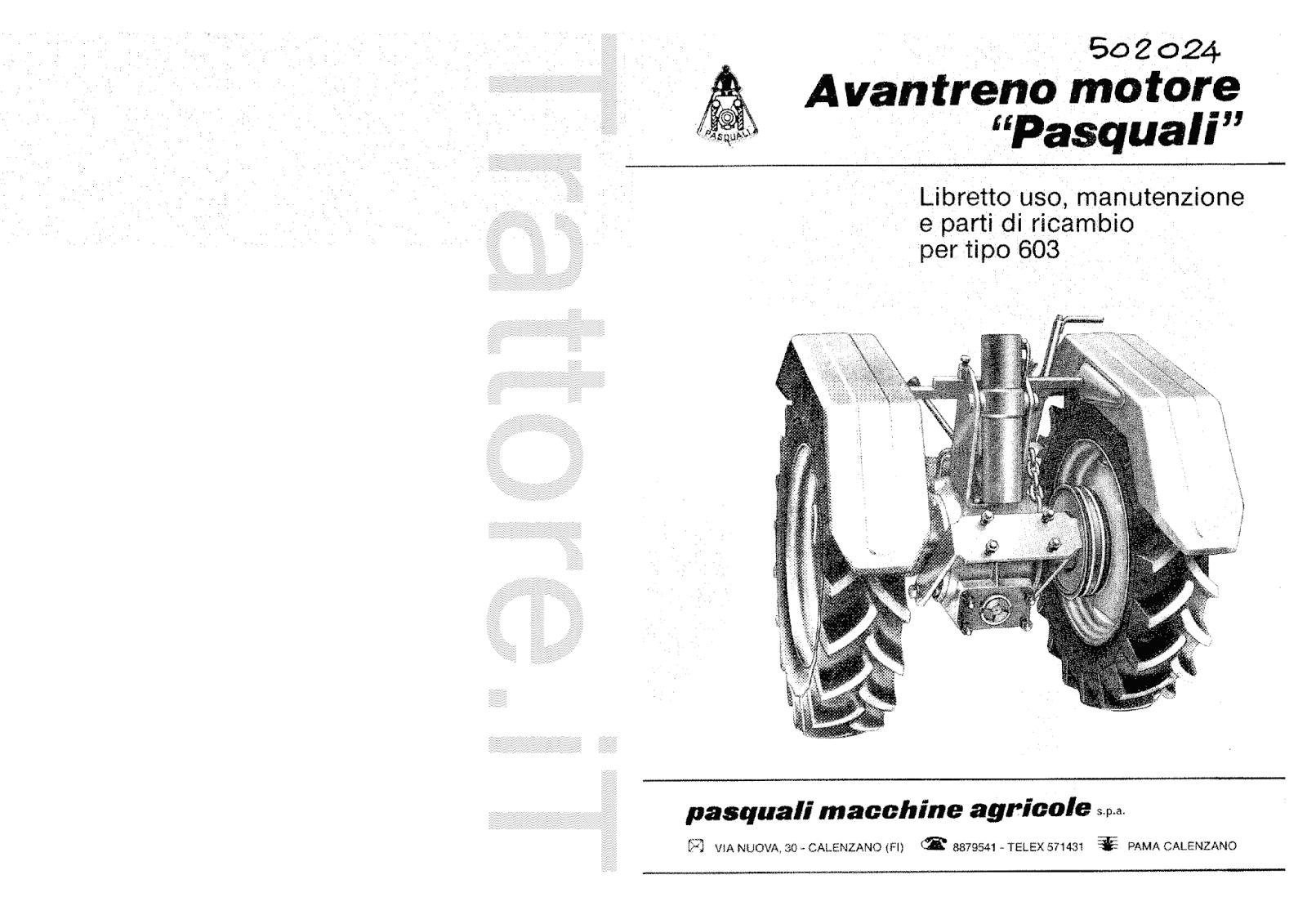 InfoTrattore.it: Avantreno Motore Pasquali 603 manuale