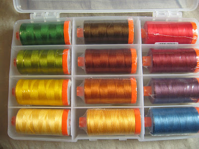 Aurifil Mako 50 weight thread in Autumn colors